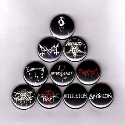 BLACK METAL PINS / BUTTONS mayhem bathory darkthrone venom celtic frost - Black Frosting
