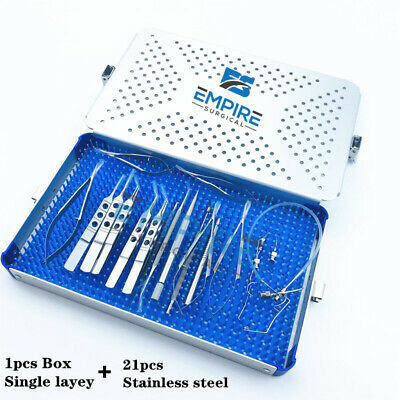 21pcs Ophthalmic Cataract Eye Micro Surgery Surgical Instruments With Case Box