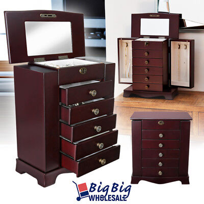 Wooden Jewelry Treasure Amoire Cabinet Storage Box Organizer Drawer W/ Mirror Mirror Jewelry Organizer