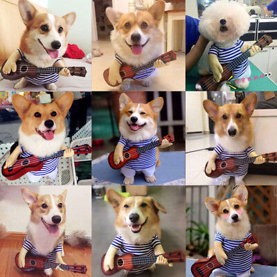 Funny Pet Cat Dog Guitar Player Clothes Coat Halloween Apparel Costume Cosplay](Funny Musician Halloween Costumes)