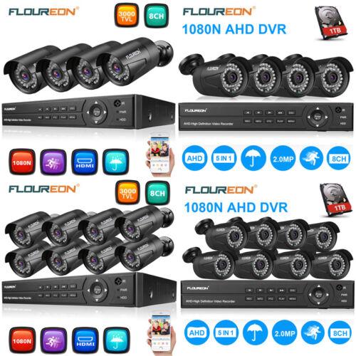 1080P HD 8CH AHD DVR 3000TVL Outdoor IR-CUT CCTV Security Ca