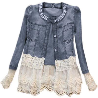 Womens Denim Jacket Lace Splicing Long Sleeve Outwear Jean C