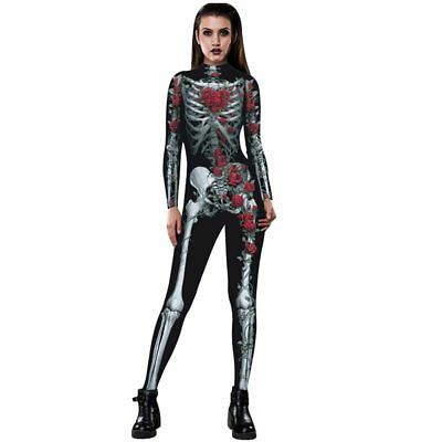 3D Skull Rose Printing Bodysuit For Women Jumpsuit Costume Halloween Party Props - Bodysuits For Halloween Costumes