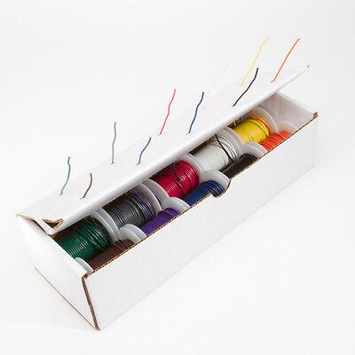 22 Awg Gauge Solid Hook Up Wire Kit 25 Ft Ea 0.0253 10 Color Ul1007 300 Volt
