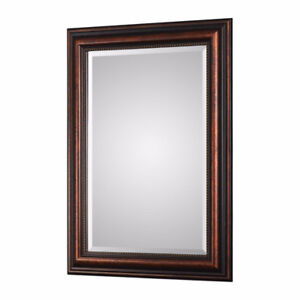 Rectangular Beveled Brown-Bronze Beaded Wall Mirror
