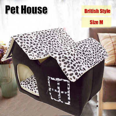 Portable Dog House Small Pet Bed Puppy Kennel Cave Stable Cat Pad Indoor Size M