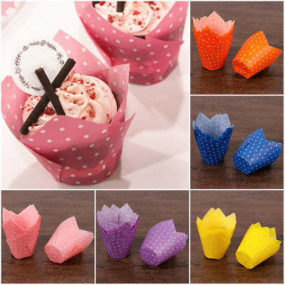50Pcs Dots Cupcake Wrapper Liners Muffin Tulip Case Cake Paper Baking Cup (Cupcake Papers)