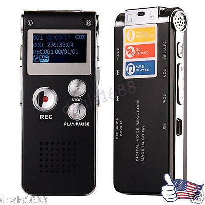 8GB Best Voice Activated Mini Clip USB Digital Audio Voice Recorder Mp3 Player