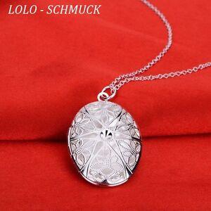 Medaillon Silber Medallion Foto Kette+Anhänger Amulett zum öffnen Glücksbringer