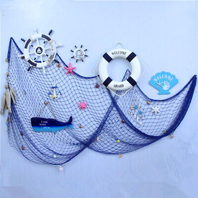 Fish Net Decor Nautical Seaside Beach Theme Sea Ocean Home Wall Party Decor Blue (Fishing Themed Party)