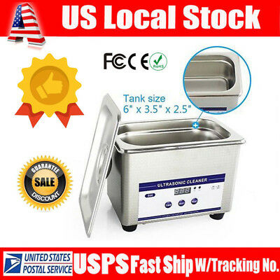0.8l Stainless Steel Digital Ultrasonic Parts Cleaner Sonic Cleaning Timer Usa