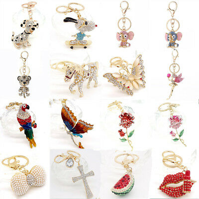 HOT Key Chains Animal Keyring Purse Bag Crystal Charm Pendant Necklace Gift
