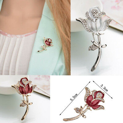 Crystal Red Rose Pins Rhinestone Flower Brooch Women Clothing Accessories Gift