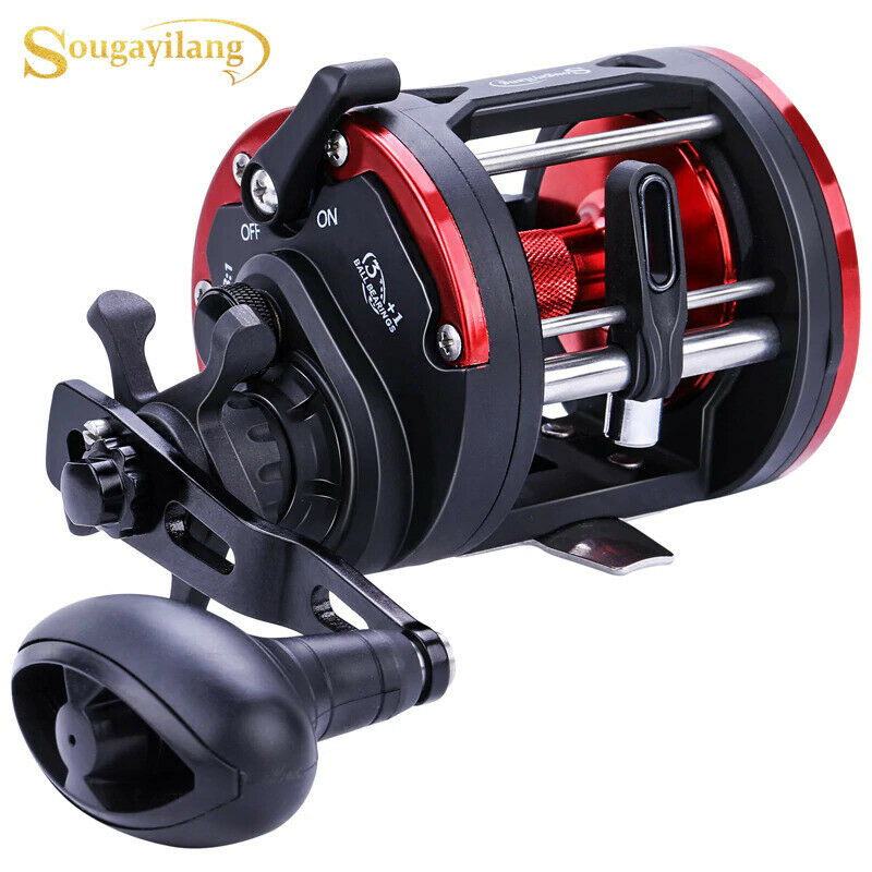 Sougayilang Trolling Fishing Reel Round Baitcasting Reel Car