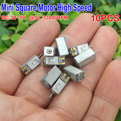 10pcs Micro Mini Square Dc Motor Dc 3v 3.7v 5v 33000rpm High Speed Motor Diy Toy