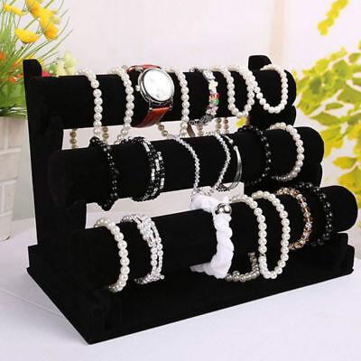 3 Tiers Velvet Necklace Jewelry Bangle Bracelet Organizer Holder Display Stand