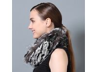 DAYMISFURRY--Rex Rabbit and Silver Fox Fur Snood Scarf In Black Frost