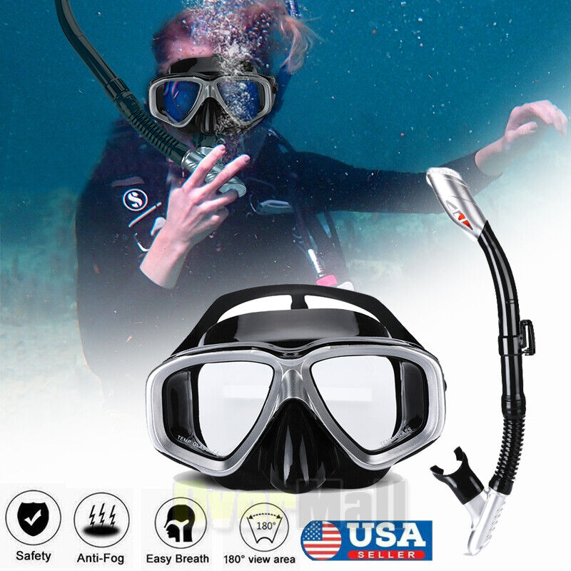 Half Face 180° View Mask Swimming Underwater Diving Snorkel Scuba Glass Anti-Fog