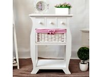 Wooden Frame Wicker basket Drawer Storage Unit Bed Side End Table G118-4W