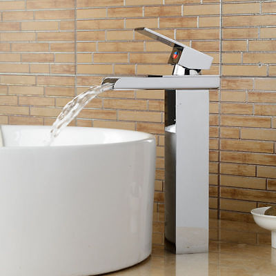 US Tall Waterfall Spout Bathroom Basin Sink Faucet Chrome Single Lever Mixer Tap