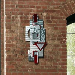 Wall Clock - Large Unique Functional Red + Silver Wall Art Clock - Contemporary