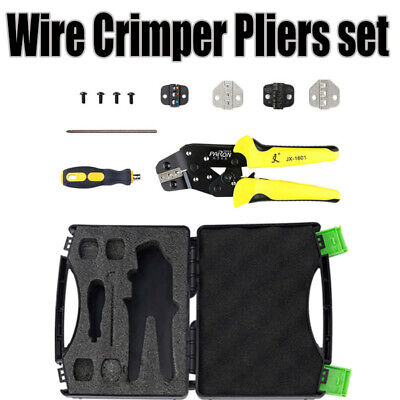 Ratchet Crimper Plier Crimping Tool Cable Wire Electrical Terminals Kit Yellow