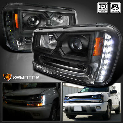[Black] 2002-2009 Chevy Trailblazer LED Projector Headlights Left+Right