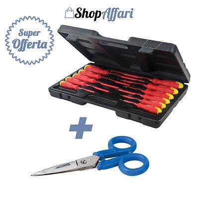 kit set cacciaviti giraviti per elettricista cacciavite isolati + forbici 11pz..