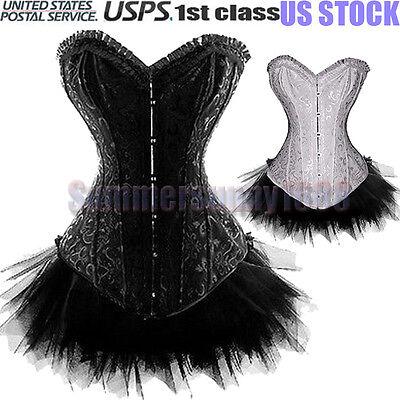 SY Black /White Burlesque Corset & tutu/skirt Fancy dress outfit Women's Costume (White Burlesque Costumes)