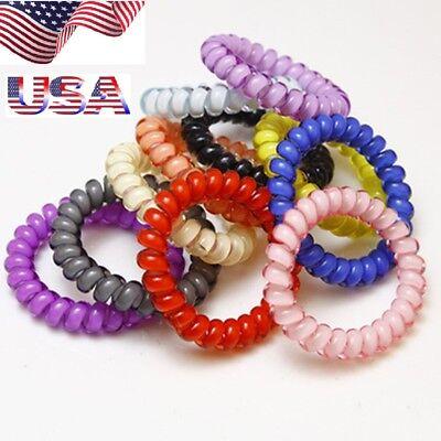 USA 15Pcs Rubber Telephone Wire Hair Ties Spiral Slinky Hair Head Elastic Bands - Slinky Hair Ties
