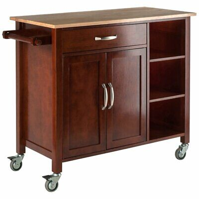 Winsome Mabel Kitchen Cart in Walnut and Natural