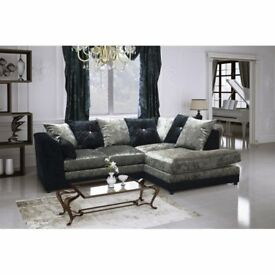NEW R/H BLK/SIL CRUSHED VELVET CORNER SOFA INCLUDES FREE DELIVERY & FREE MATCHING STOOL FOR £279.99