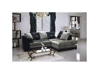 NEW R/H BLK/SIL CRUSHED VELVET CORNER SOFA INCLUDES FREE DELIVERY & FREE MATCHING STOOL FOR £299.99