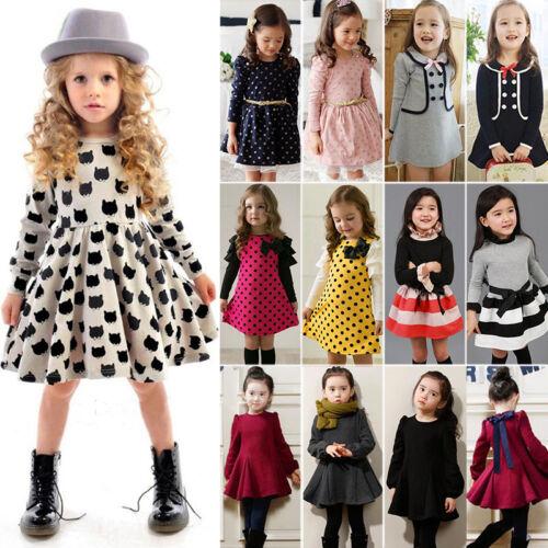Toddler Kids Girls Skater Tunic Swing Dress Skirt Long Sleev