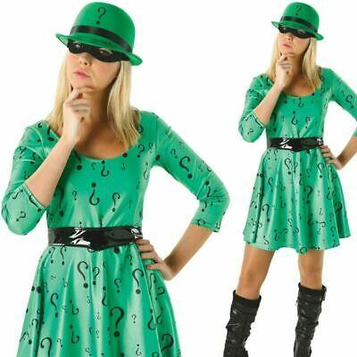 Lizenziert Damen Riddler Kostüm Halloween Superheld Bösewicht Kostüm - Held Bösewicht Kostüm