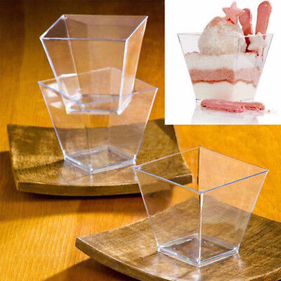 40X Mini Small Plastic Cube Disposable Dessert Cup Cube Sauce Starter Party Bar