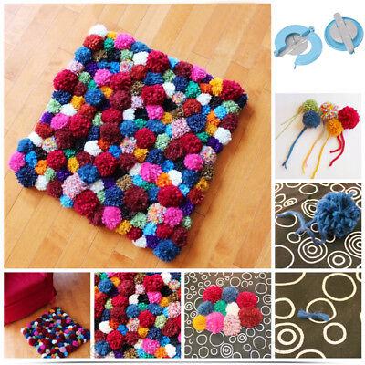 DIY 4 Size Pom pom Maker kit Fluff Ball Weaver Needle Knitting Craft Bobble Tool