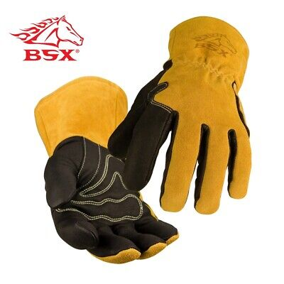 """Black Stallion 101A Cowhide Stick Welding Gloves 16/"""" Length MADE IN USA Large"""