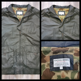 Racing Green Coat British style Mens Size uk L cotton with PU Coating