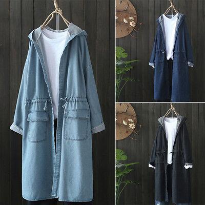 - ZANZEA Women's Long Sleeve Denim Blue Jacket Coat Casual Tunics Hoodies Hooded