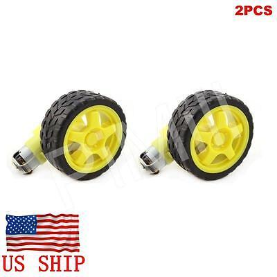 2pcs Smart Robot Car Plastic Tire Tyre Wheel W Dc 6v Gear Motor Set For Arduino