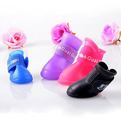 lovely 4pcs/Lot Pet Boots Dog Waterproof Boot Rain Shoes Anti-slip Rubber Shoes