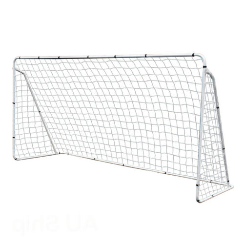 12×6′ PRO Football Match Soccer Single Goal EZ Setup Training Net School W/Bag Goals & Nets