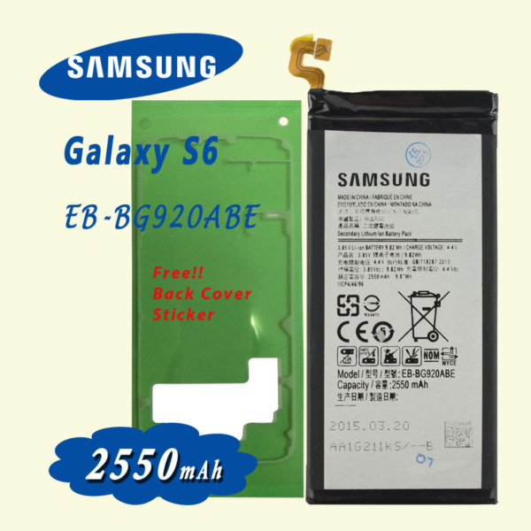 New Battery for Samsung Galaxy S6 EB-BG920ABE SM-G920 include free back cover adhesive sticker