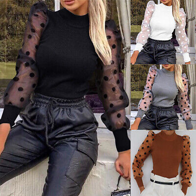 Women Mesh Polka Long Sheer Sleeve Sweater Tops Pullover Blouse Shirt Size 6-18