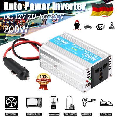Auto Power Inverter Converter USB Ladegerät Wechselrichter 200W DC 12V AC 220V E Auto-power-inverter