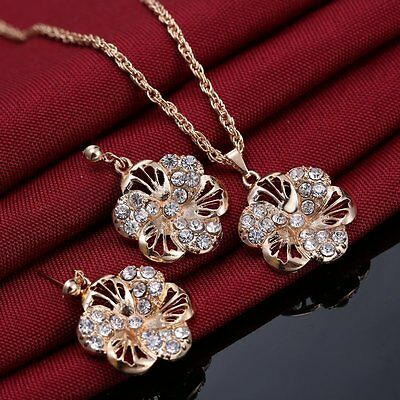 - Wedding Women Rhinestone Crystal Flower Pendant Necklace Earrings Jewelry Set BF