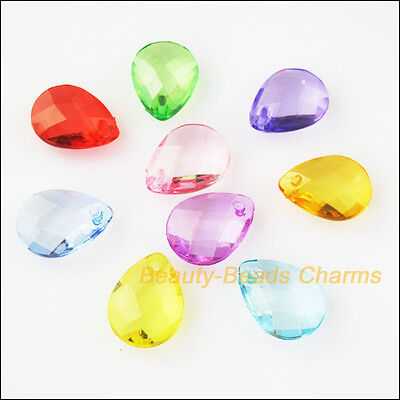 30Pcs Mixed Plastic Acrylic Teardrop Faceted Charms Pendants - Plastic Charms