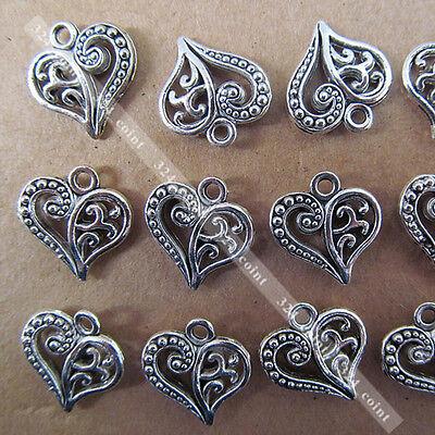 20pcs Tibetan Silver Heart-shaped Dangle Charm Beads 14*15mm Wholesale P003