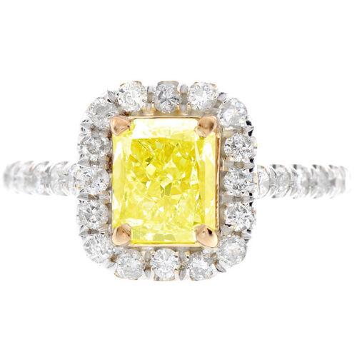 Fancy Yellow 2 Carat Radiant Cut Diamond Engagement Ring GIA Certified 18k Gold